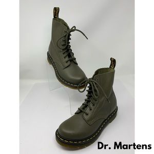 """Dr. Martens """"Pascal"""" Army Green Combat Boots"""